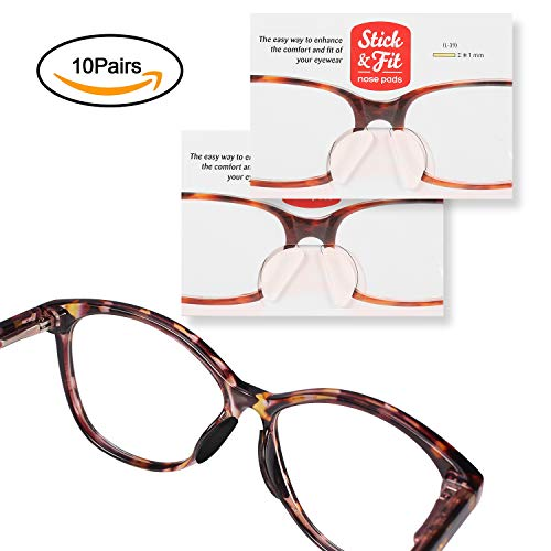 SMARTTOP Eyeglass Nose Pads,10 Pairs Soft Silicone Self Adhesive Thin Nose Pad for Eyeglasses Sunglasses Reading Glasses ()