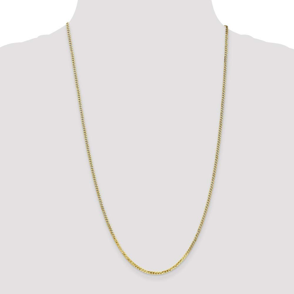 16 18 20 24 Length Options 10k 2.2mm Flat Beveled Curb Chain Necklace