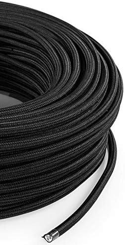 C/âble /électrique rond//rond avec rev/êtement en tissu Noir Section 2/x 0.75