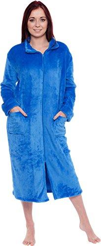 Silver Lilly Women's Full Length Zip Up Robe - Plush Fleece Long Zipper Housecoat (Blue, Large/X-Large)