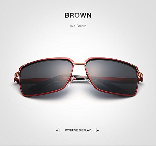 Golden Sol polarizadas UV400 Sol Retro de Gafas Gafas Gafas de Sol Marca diseño Gafas para de Negro Sol Brown de Gafas Hombre Masculino Hombres Rongjuyi Color Oro de 7fUqFFw