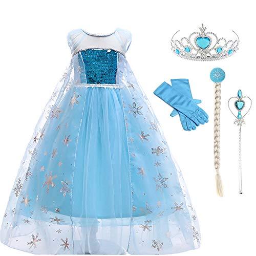 Lovely Mermaid Snow Princess Elsa Dress Crown Adventure Costume Fancy Long Sleeve Girls Kids (Light Blue, 110cn fit for 3-4 Years Kids) (Fur Crown Princess)
