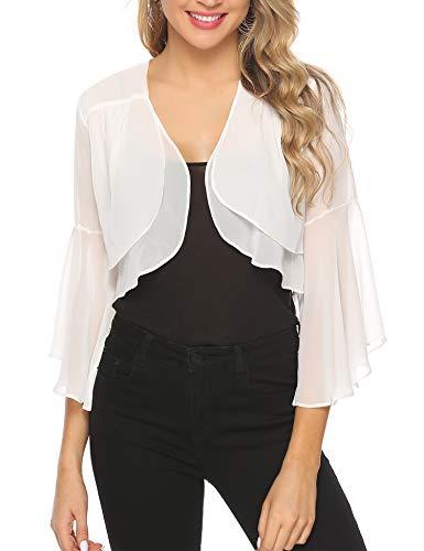 Lace Bolero - Aibrou Womens Short Sleeve lace Bolero Shrugs for Dresses See Through Short Cardigan for Women White