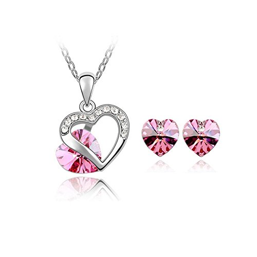 For Girls Spy Costume Ideas (The Starry Night Love Promise Hollow out Diamond Accented Rose Red Crystal Heart Necklace Earring)