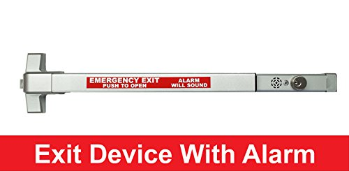 Door Exit Devices - Commercial Door Push Bar Panic Exit Device With Alarm Sprayed Aluminum