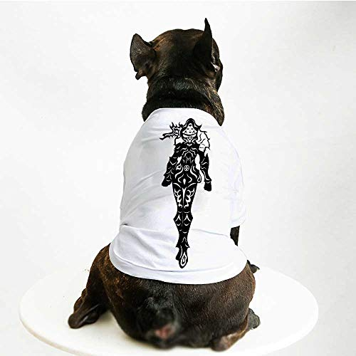 Mint 393 (YOLIYANA Video Game Printing Pet Suit,Illustration of a in Black and White Futuristic Fiction Battle Fantasy Heroes Art for Small Dog Teddy Chihuahua Bichon,S)