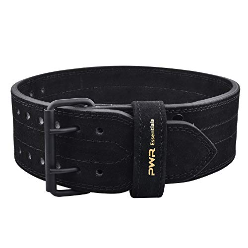 PWR Essentials Leather Weightlifting Belt Black Wide Olympic Style Powerlifting, Gym, Crossfit, Exercise Back Support Heavy Duty Men Women