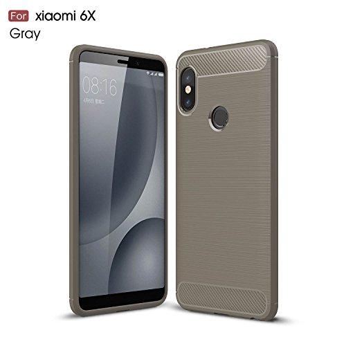 Funda para Xiaomi Mi 6X / Redmi Note 5 Pro , IJIA Azul Oscuro TPU Silicona La fibra de Carbono Suave Cover Tapa Caso Parachoques Carcasa Cubierta Al Aire Libre Case Soft Shell para Xiaomi Mi 6X / Redm gray