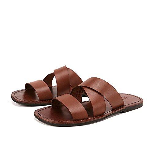 Brass 40-EU Arrivée été Hommes Diapositives Vache en Cuir Plage Pantoufles Non-Slip Pantoufles Hommes chaussures Hombre Décontracté Chaussures Hommes,Chaussures de Cricket (Couleur   marron, Taille   41-EU)