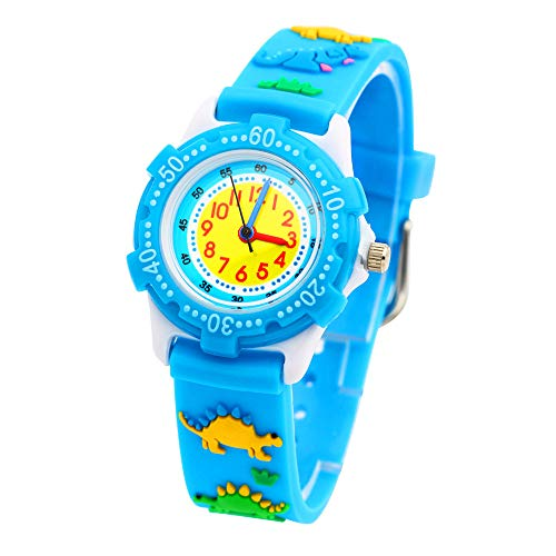 Dinosaur Kids Blue (Eleoption Waterproof Kids Watches for Kid Girls Boys Toddlers Watch 3D Cute Cartoon Silicone Wristwatches Time Teacher Gift for Little Kids Boys Girls Children Birthday Gift (Jurassic Dinosaurs-Blue))