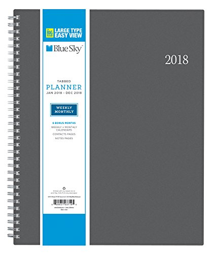 "Blue Sky 2018 Weekly & Monthly Planner, Twin-Wire Binding, 8.5"" x 11"", Large Print, Classic Grey"