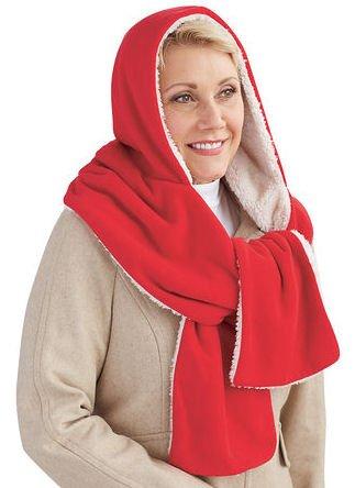 Soft Cozy Warm Fleece Reversible Hooded Wrap Scarf - ()