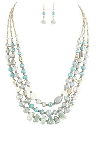 "Marbled Chunky - Venus Beads Chunky Marbled White Teal Iridescent Blue Sea Foam Green Stone Layered Bib Necklace 18"" w/Earrings"
