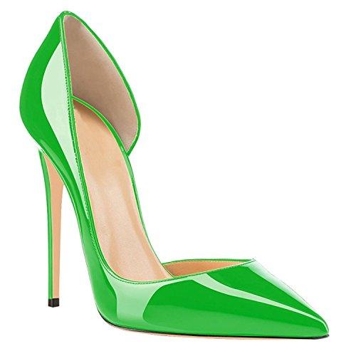 Lovirs Party Pointed On Size Patent Pumps Sexy Shoes Plus Heel Womens Wedding Slip Stiletto High Green Toe rqUCrwx5P