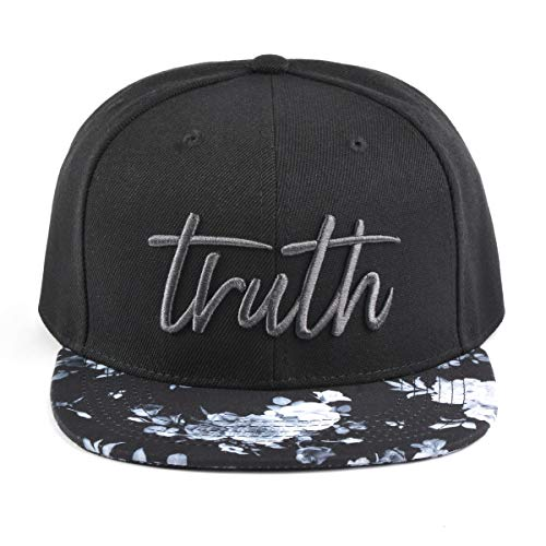 White Hat Brands - Bloomouflage Brand Floral Flat Bill Snapback Hat (Black and White Floral with Embroidered Truth)