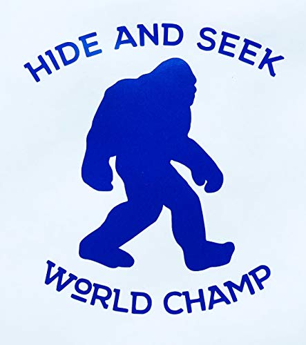 Custom Hide and Seek World Champ Bigfoot Vinyl Decal - Sasquatch Bumper Sticker, For Laptops, Cooler or Car Windows -