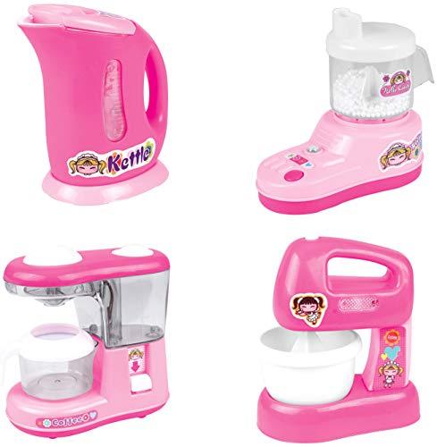 PowerTRC Kitchen Appliance Playset for Kids, Kettle, Juicer, Coffee Maker, Mixer, Kitchen Accessories (Just Like Home Kitchen Appliances)
