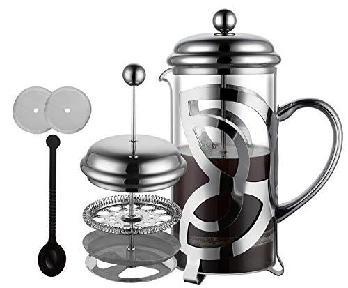 Meelio Cafetera de émbolo French Press con filtro de acero inoxidable, cristal resistente al calor, 1 litro (6 tazas…