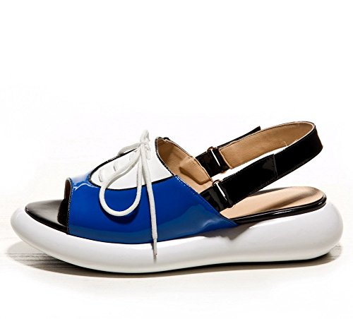 AllhqFashion Mujeres Colores Surtidos Cuero Puntera Abierta Plataforma Velcro Sandalia Azul