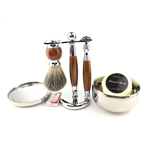 VICYUNS Luxury Grooming Shaving Set for Men Including Double-sided Razor, Allergy Shaving Soap, Stainless Steel with Mirror Bowl, Hair Shaving Brush,10 Replacement Blades (Agate Color) ()