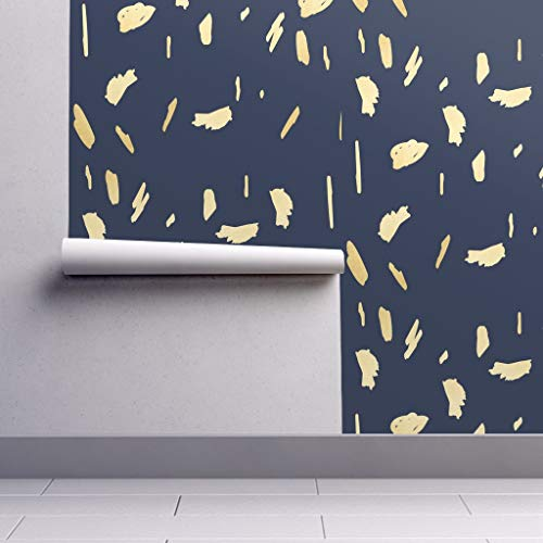 Peel-and-Stick Removable Wallpaper - Abstract Brushstrokes Blue Yellow Abstract Fluid Paint Daubs Paint by Jenlats - 24in x 60in Woven Textured Peel-and-Stick Removable Wallpaper Roll