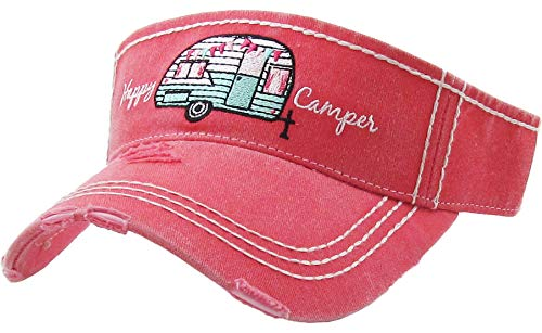 - H-201-HC52 Distressed Ponytail Visor w/ Patch: Happy Camper, Coral