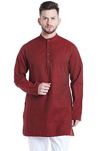 Shatranj Men's Indian Mandarin Collar Mid-Length Fine Stripe Kurta Tunic; Maroon; (Fine Stripe Shirt)