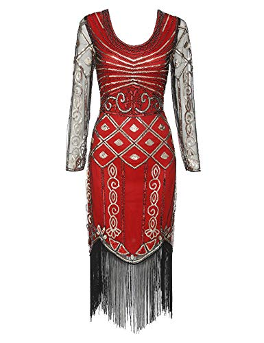 Women's Long Sleeve Flapper Dress 1920s Great Gatsby Sequin Inspired Cocktail Dresses (Red Long Sleeve, XL)