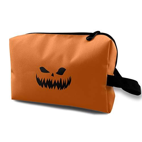 Halloween Orange Pumpkin Devil Multi-function Travel Makeup Toiletry Coin Bag Case ()