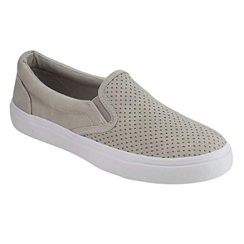 (SODA IF14 Women's Perforated Slip On Elastic Panel Athletic Fashion Sneaker, Color:Clay Nubuck,)