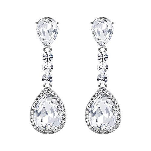 BriLove Wedding Bridal Clip-On Earrings for Women Crystal Teardrop Infinity Figure 8 Chandelier Dangle Earrings Clear Silver-Tone