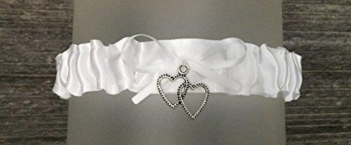 SEXY White Satin Wedding Toss Demi Bridal Garter - Double Heart ()