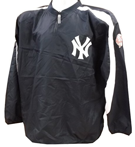 VF New York Yankees MLB Mens Majestic 1/4 Zip Winbreaker Jacket Navy Blue Big Sizes (3XL)