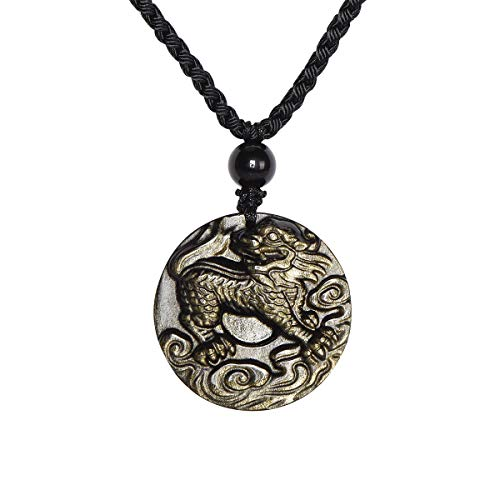"ELEMEN Golden Obsidian Stone Pendant - Genuine Gemstone Round Golden Obsidian Pendant Chakra Healing Stone Necklace Adjustable 27"""