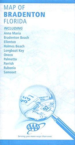 MAP OF BRADENTON FLORIDA /INCLUDING ANNA MARIA-BRADENTON BEACH-ELLENTON-HOLMES BEACH-LONGBOAT KEY-ONECO-PALMETTO-PARRISH-RUBONIA-SAMOSET /HUGE FOLDOUT - Florida Ellenton