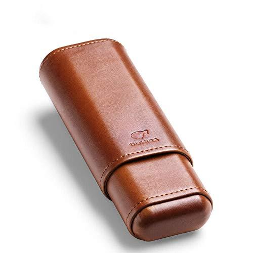 Brown Genuine Leather Cedar Wood Lined 2 ct Sturdy Cigar Case Travel Holder
