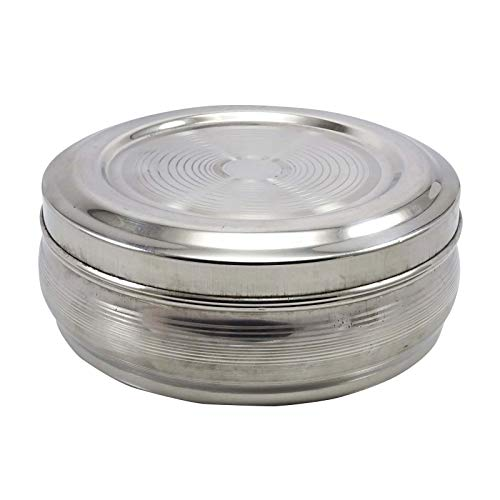 WhopperOnline Round Stainless Steel Stripe Design Spice Container Box With Spoon, Masala Dabba - Silver, 8 inch
