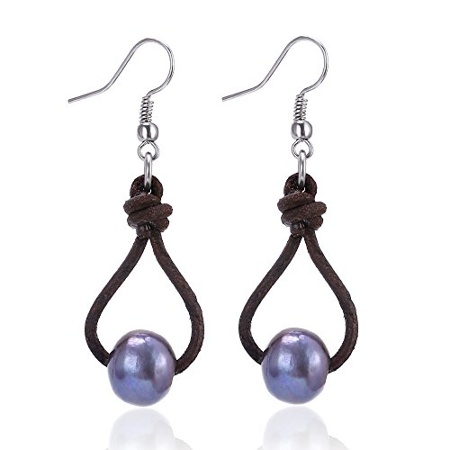 Brown Cultured Earring (Women's Cultured Freshwater Pearl Earring Genuine Leather Drop Pendant Dangle Earrings-Brown and Blue)