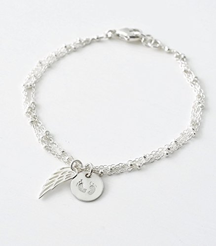 Delicate Sterling Silver Miscarriage Bracelet with Angel Wing and Baby Feet Charms - Sympathy Gifts for Pregnancy Loss