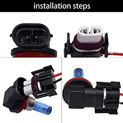 GZXY H11 H8 880 881 High Temperature Ceramic Wire Harness Socket Female Adapter for Headlight Fog Light 2 pcs: Automotive