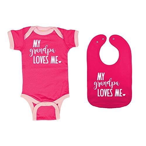 Mashed Clothing - My Grandpa Loves Me - Baby Ringer Bodysuit & Premium Bib Gift Set (Hot Pink/Pink Ringer, Hot Pink Bib, Newborn) ()