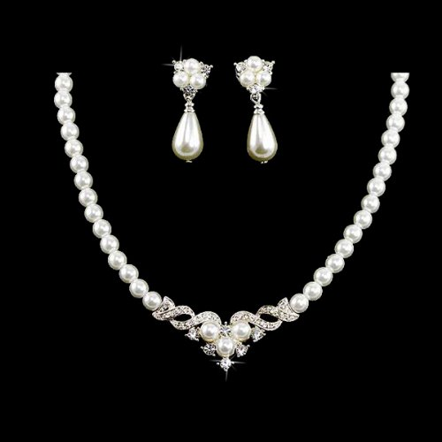 ACCESSORIESFOREVER Bridal Wedding Jewelry Set Crystal Pearl Beautiful Elegant Necklace