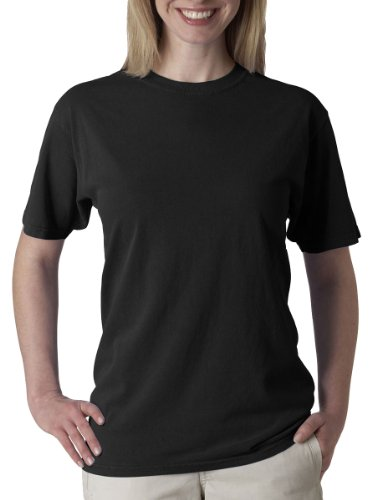 Chouinard Comfort Men's Ring-Spun Garment-Dye Hem T-Shirt, Black, S (Pack Of 5) (Dye Garment Ringspun)