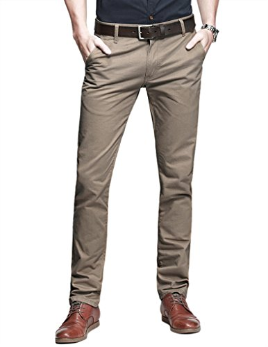 Slim Chino Pants - Match Mens Slim-Tapered Flat-Front Casual Pants(8108 Light Khaki,32W x 31L)