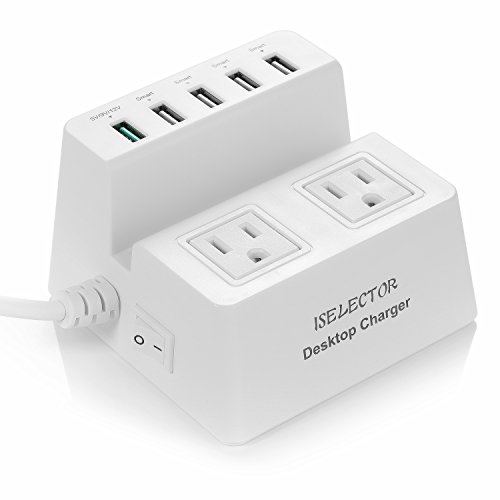 ISELECTOR 40W 5-Port Smart USB Charger with Fast Charging Technology (5V/9V/12V) and 2-Outlet Power Strip with 1700J Surge Protector 5 Feet Cord by ISELECTOR