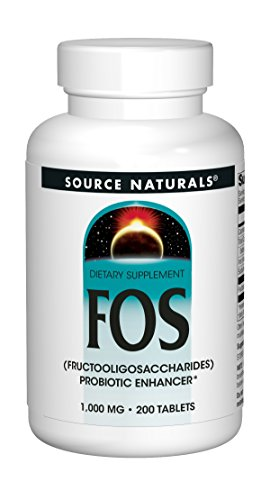 Source Naturals FOS (Fructooligosacchairdes) 1000mg Probiotic Enhancer - Prebiotic Supplement - Natural - 200 Tablets (Best Sources Of Prebiotics)