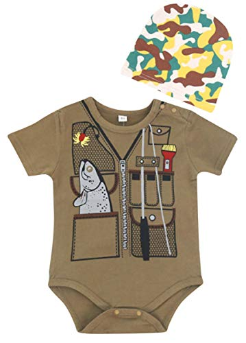 FANCYBABY Baby Boy Fisher Fishing Hunter Camouflage Hat Cap Romper Top Shirt Set Outfit (3 to 6 Months, Fisher)