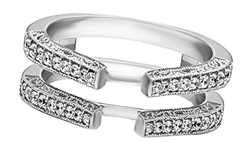 Jewel Zone US White Natural Diamonds Solitaire Enhancer Guard Wrap Ring 14k White Gold Over Sterling Silver (0.29 Ct)