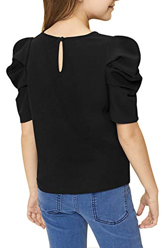 GORLYA Girl's Puff Sleeve Casual Solid T-Shirt Pullover Keyhole Back Blouse Tops for 4-14 Years 2