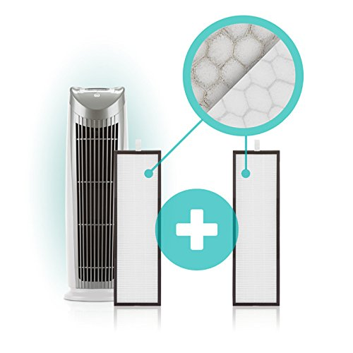Quality! Compact! Power! For life! Alen T500 Tower Air Purifier HEPA-Silver Filter, 500 Sq. Ft., in Silver & White
